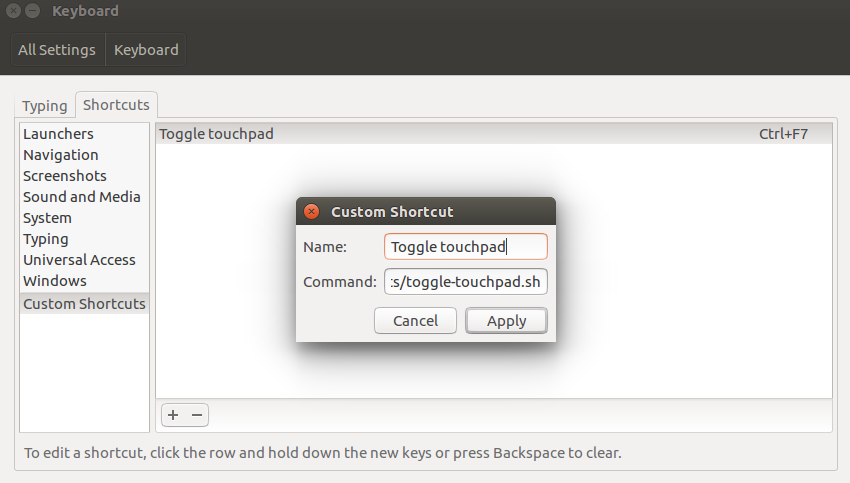 How-to: Create a keyboard shortcut to toggle touchpad on